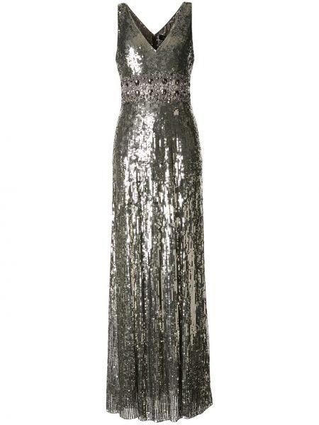 Серебряное платье макси Jenny Packham