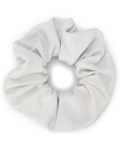 Skórzany biały gumka do włosów z falbankami Manokhi