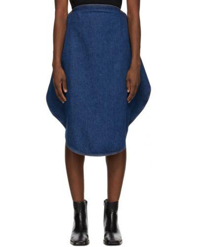 Niebieski dżinsowa spódnica rozciągać przycięte Mm6 Maison Margiela