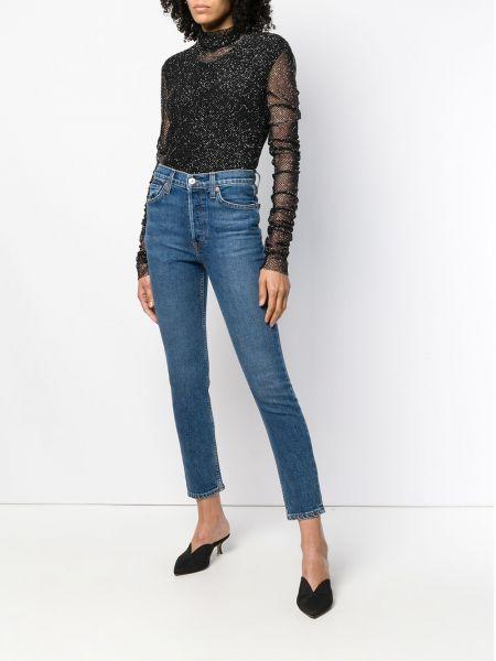 Зауженные джинсы с заниженной талией - синие Re/done