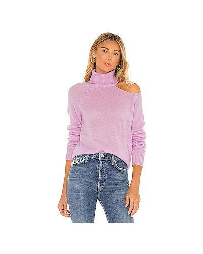 Кашемировый фиолетовый свитер с вырезом Skin