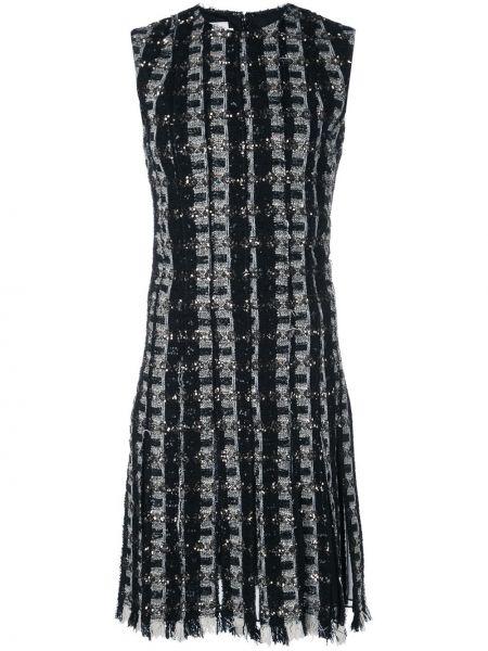 Платье мини с бахромой в рубчик на молнии без рукавов Oscar De La Renta