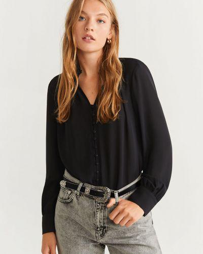 Блузка с длинным рукавом однотонная с воротником-стойкой Mango
