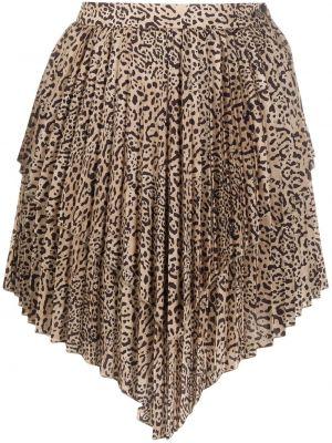 Satynowa brązowa spódnica z printem Wandering