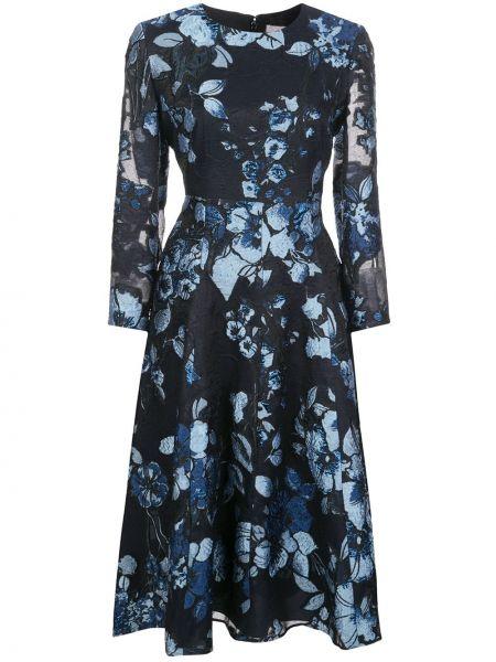 Платье миди с цветочным принтом с прозрачными рукавами Lela Rose