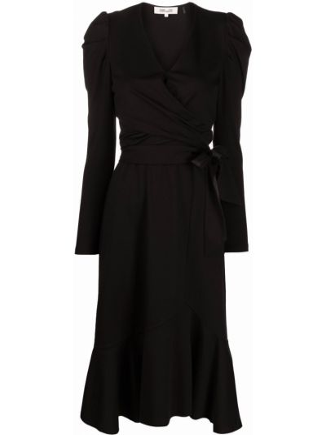 Czarna sukienka rozkloszowana z długimi rękawami Dvf Diane Von Furstenberg