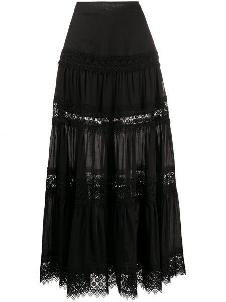 Czarna spódnica maxi z wysokim stanem z haftem Charo Ruiz Ibiza