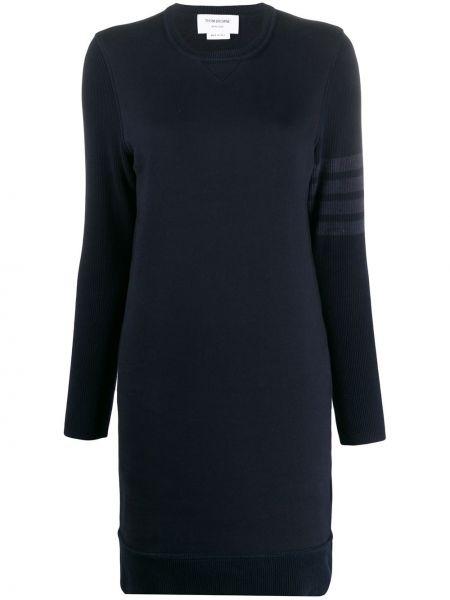 Niebieska sukienka mini w paski z długimi rękawami Thom Browne