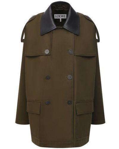 Кожаная куртка хаки с декоративной отделкой Loewe