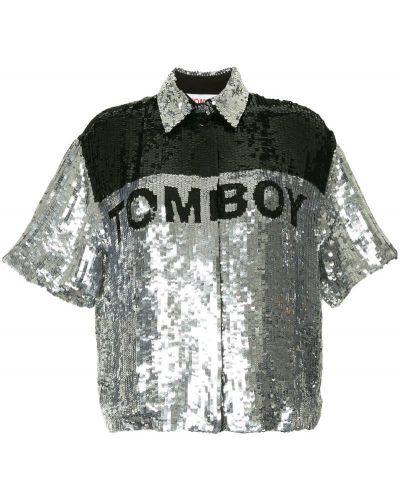 Классическая рубашка с коротким рукавом серебряный Filles A Papa