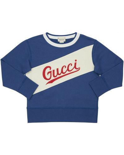 Bawełna bluza z haftem z kołnierzem z mankietami Gucci