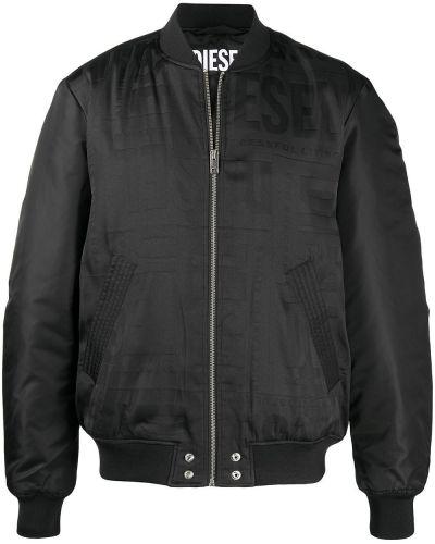 Z rękawami czarny długa kurtka z kołnierzem Diesel