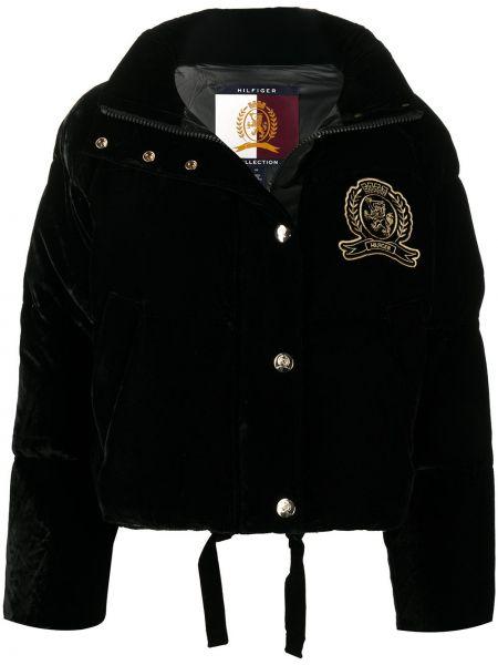 Прямая черная длинная куртка с вышивкой с карманами Hilfiger Collection