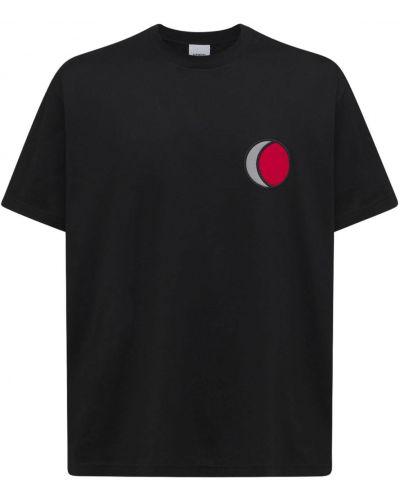 Czarna T-shirt z nadrukiem bawełniana Burberry