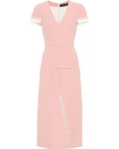 Платье розовое шерстяное Roland Mouret