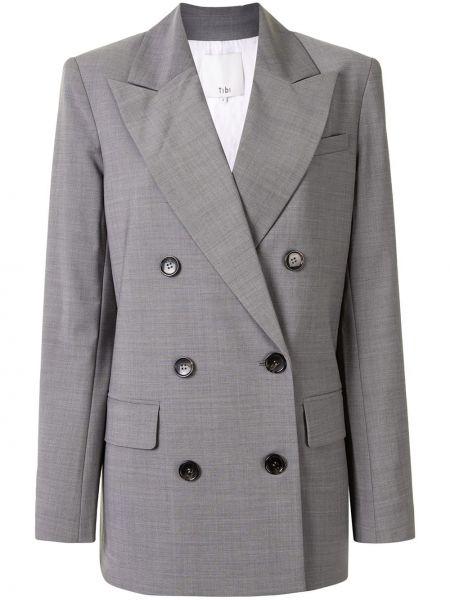 Серый шерстяной пиджак с карманами с лацканами Tibi
