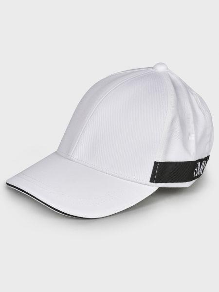 Хлопковая белая кепка Emporio Armani