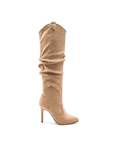 Кожаные сапоги на каблуке на каблуке Raye