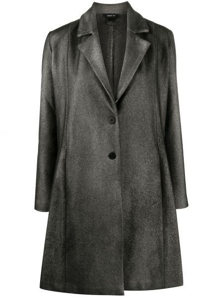 Однобортное серое кашемировое длинное пальто Avant Toi
