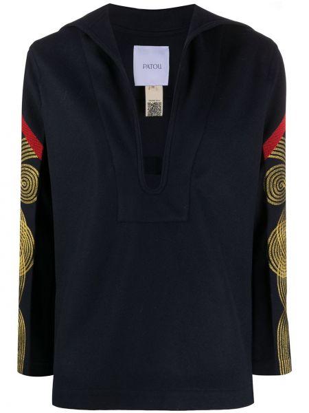 Wełniany z rękawami tunika z haftem Patou