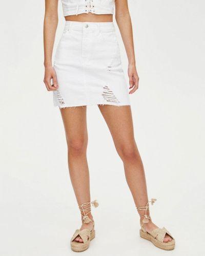 Джинсовая юбка белая турецкий Pull&bear