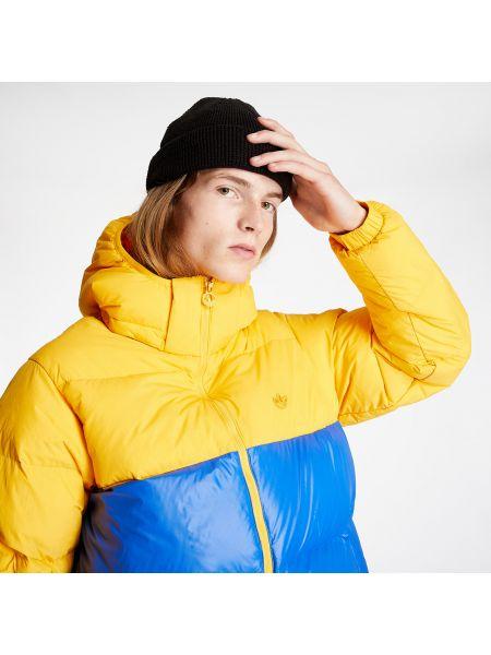 Оранжевая брендовая пуховая дутая куртка Adidas Originals