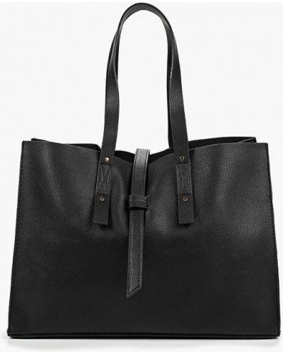 Кожаный сумка шоппер черный Mango