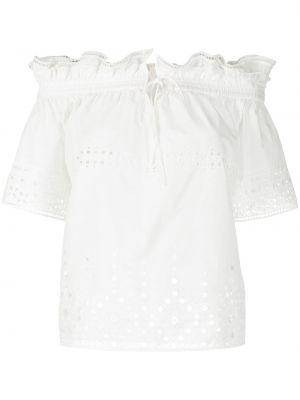 Белая блузка с открытыми плечами с короткими рукавами Ermanno Scervino
