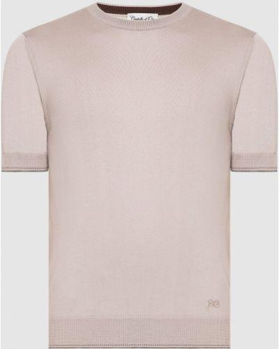 Шелковая футболка - бежевая Castello D'oro