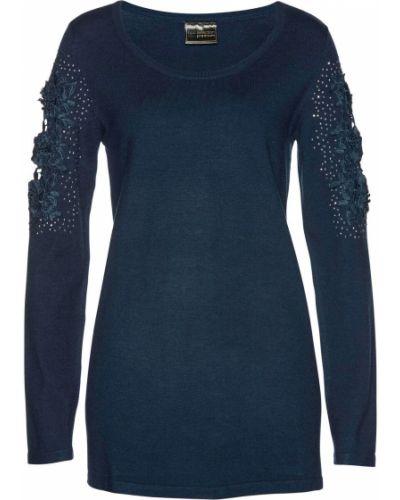 Темно-синий ажурный свитер с аппликациями Bonprix