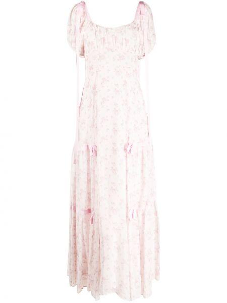 Расклешенное шелковое розовое платье мини с вырезом Loveshackfancy