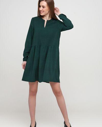 Зеленое платье макси на пуговицах с манжетами Frnch