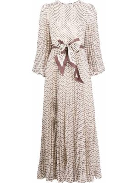 Платье макси в горошек плиссированное Zimmermann