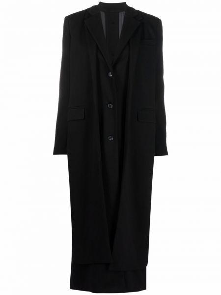 Czarny klasyczny płaszcz Rokh