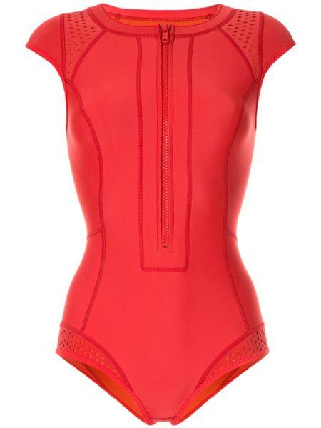 Красный спортивный купальник для серфинга на молнии с разрезом Duskii