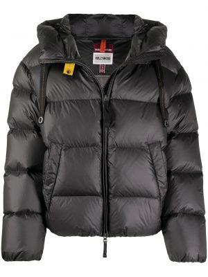 Серая пуховая длинная куртка с капюшоном Parajumpers