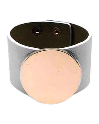 Кожаный браслет золотой на кнопках Evora