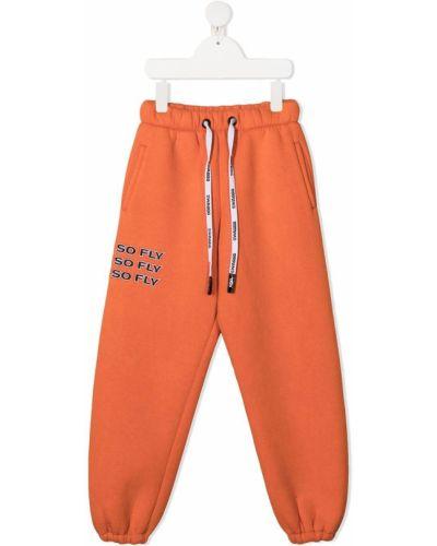 Оранжевый трикотажный спортивный костюм с манжетами Duoltd