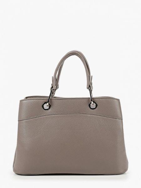Серая кожаная сумка из натуральной кожи Afina