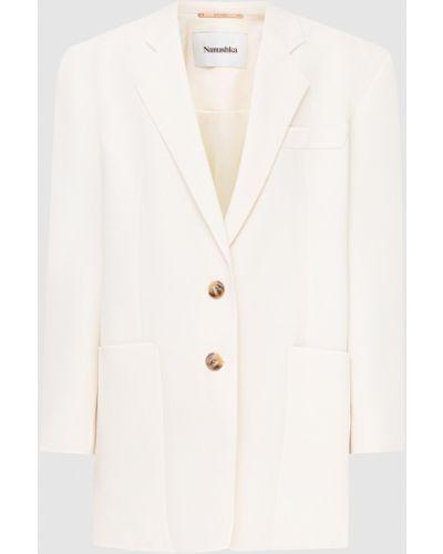 Бежевый удлиненный пиджак Nanushka