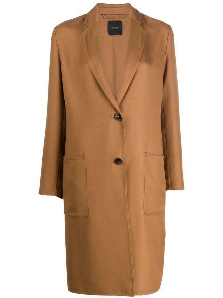 Коричневое кашемировое длинное пальто с капюшоном Agnona