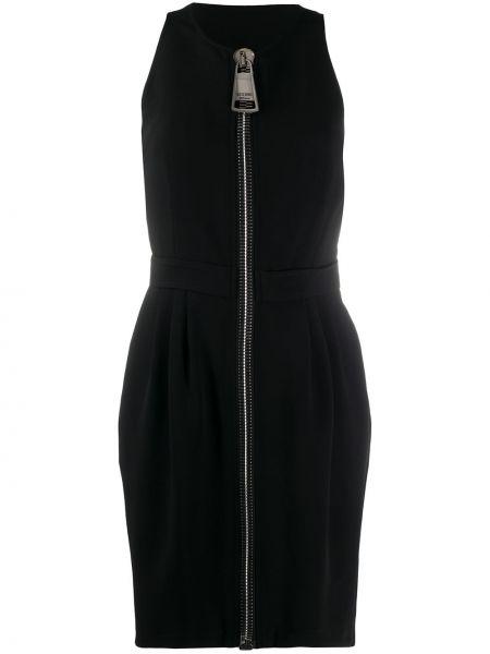 Прямое черное платье мини без рукавов Moschino