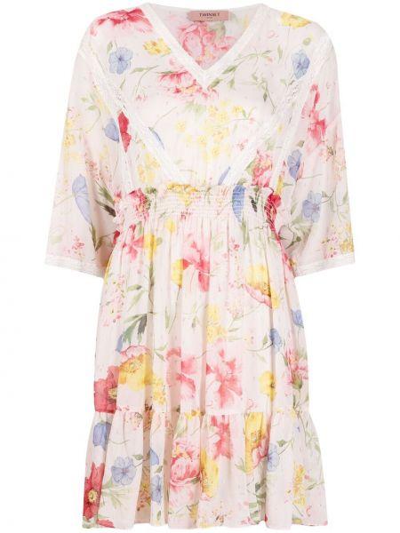 Бежевое кружевное платье в цветочный принт Twin-set
