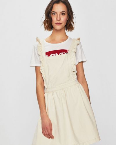 Расклешенное бежевое платье мини Review