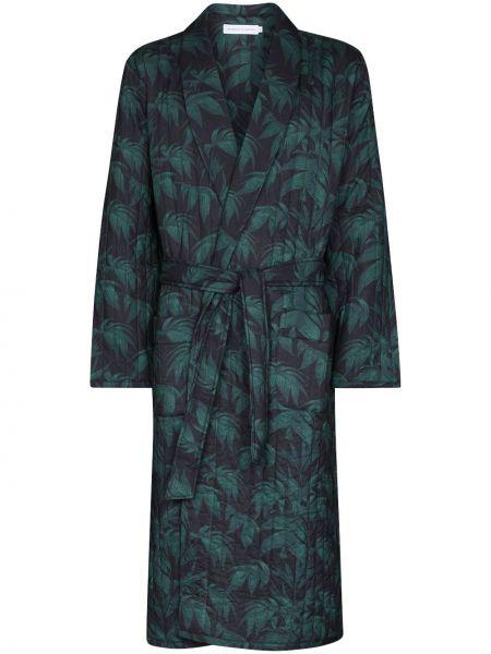 Długi szlafrok bawełniany - niebieski Desmond & Dempsey