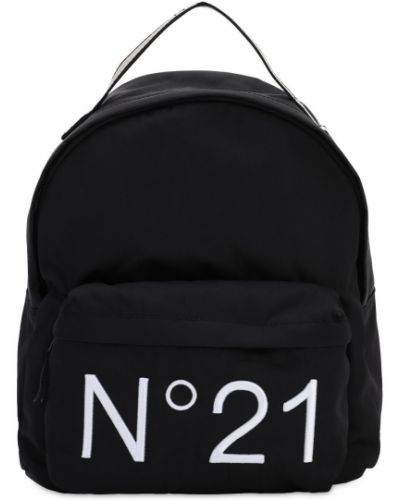 Czarny plecak z nylonu z printem N°21