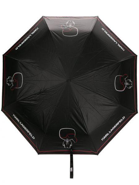 С ремешком черный автоматический зонт металлический Karl Lagerfeld