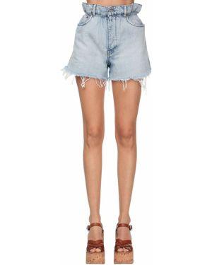 Джинсовые шорты со стразами Miu Miu