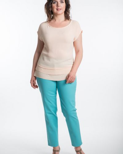 Блузка с коротким рукавом персиковый из вискозы Virgi Style