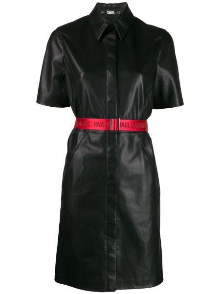Кожаное платье мини Karl Lagerfeld